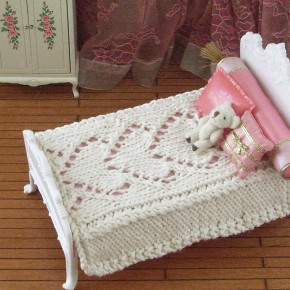 Be Mine knitted hearts bedspread for 1:6 scale dolls