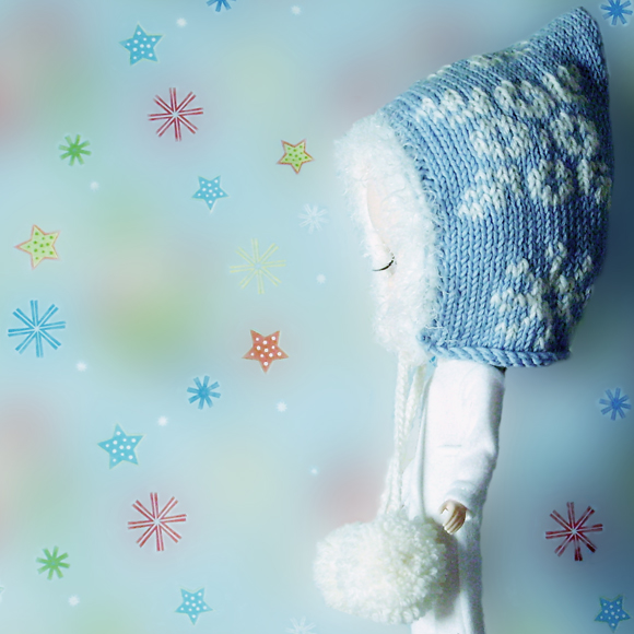 In a Flurry knitted hat for Blythe