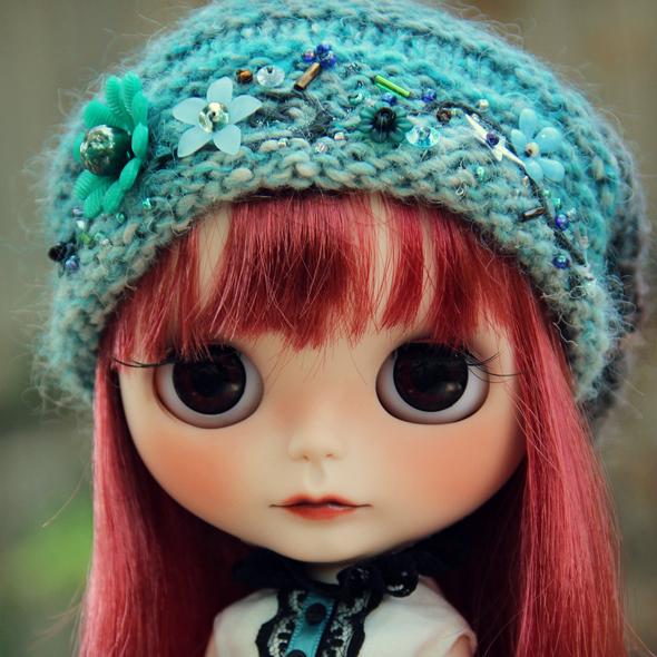 Forest elf beaded hat for Blythe dolls