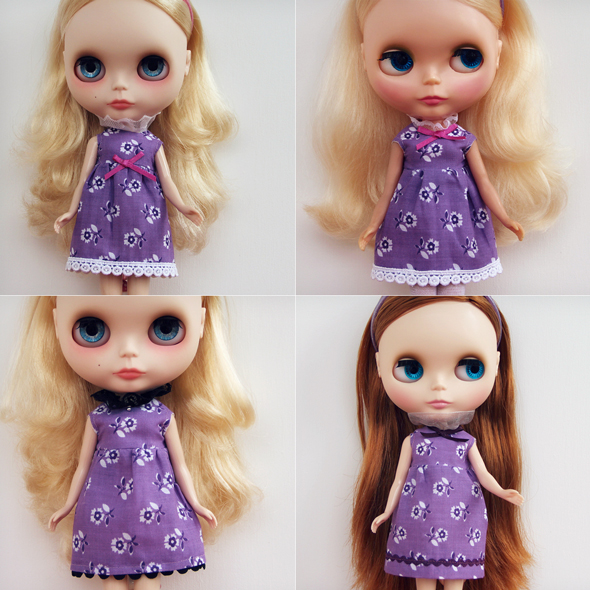 Piccadilly Purple dresses for Blythe dolls